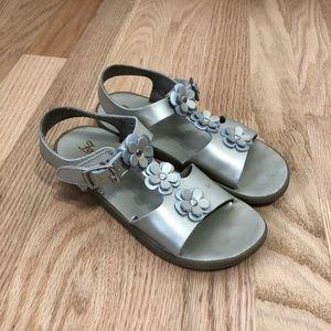 Footmates Floral Silver Leather Sandals Sz 13
